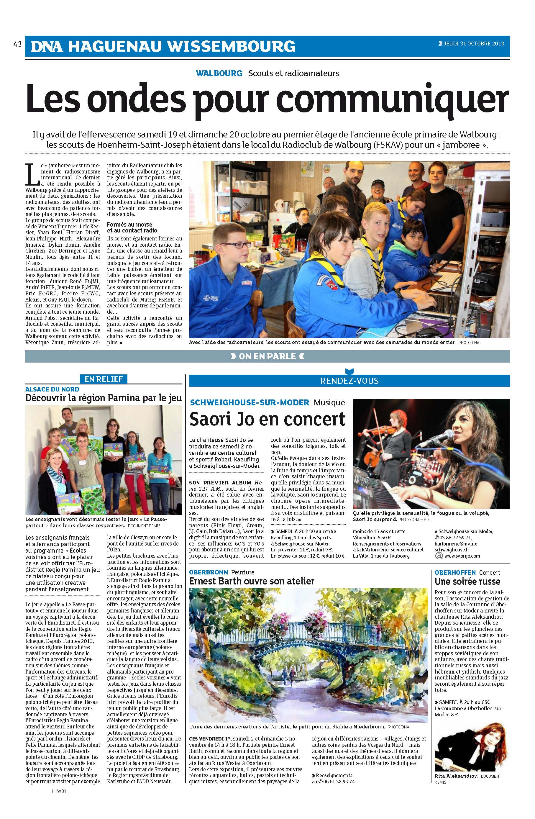 Article DNA Jamboree 2013 F5KAV du-31-10-2013